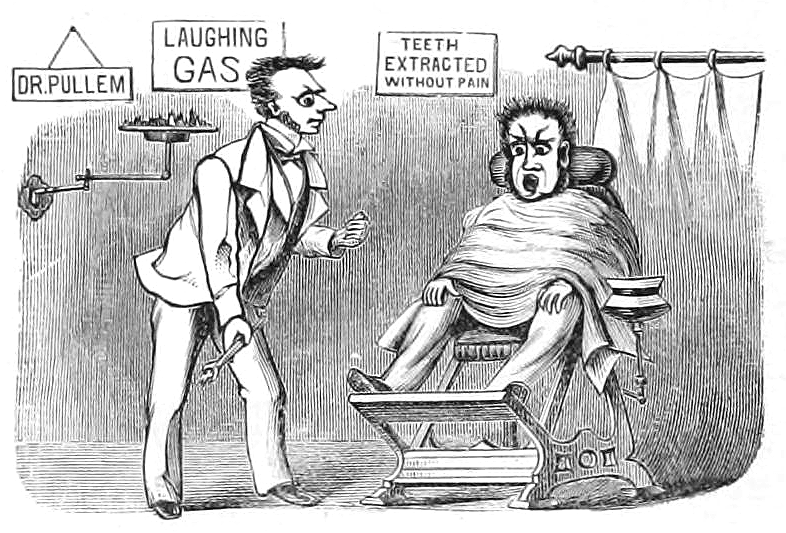 Old fashioned dentist chair cartoon